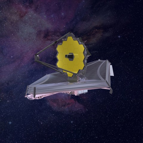 An artist's rendering of the James Webb Space Telescope deployed in space. The image depicts the design of the observatory current to 2015. Credit: Northrup-Grumman, CC BY-NC-ND 2.0