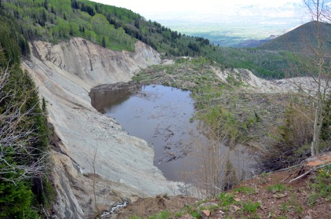 """After the avalanche on 25 May 2014, a """"sag pond"""" formed, which presents new hazards to West Salt Creek, including the potential for more landslides and flooding."""