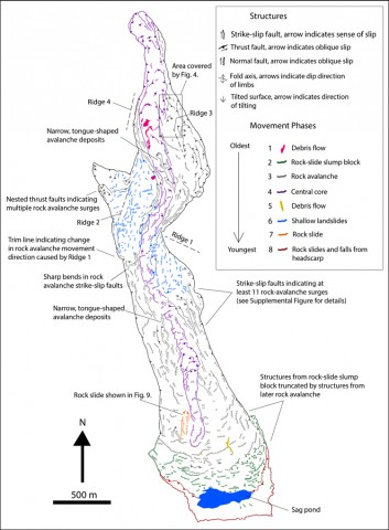 This color-coded structural map shows eight distinct phases of movement during the rock avalanche. Drone imagery, seismic data, and other techniques were used to build this map.