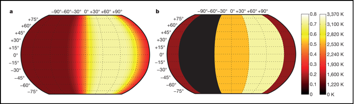 Longitudinal heat map of 55 Cancri e created by Demory and his colleagues.