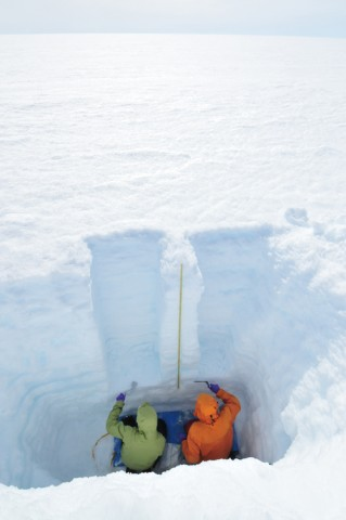 In a pit they dug in south central Greenland, scientists collect samples to investigate how the melting of snow affects the numbers of light-absorbing particles that dot the snow's exposed surface. Credit: Richard Brandt