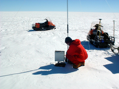 Conducting terrestrial gravity measurements in Antarctica is time-consuming (as shown during an observation campaign in central Dronning Maud Land, East Antarctica). Therefore, airborne gravimetry provides the only viable and powerful method to survey extended areas in Antarctica. Credit: M. Scheinert
