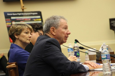 Former NASA Administrator Michael Griffin (foreground) testified at a 25 February hearing of the House Committee on Science, Space, and Technology. Former Space Shuttle commander Eileen Collins (center) and Christina Chaplain (partially blocked) of the U.S. Government Accountability Office also testified. Credit: House Committee on Science, Space, and Technology