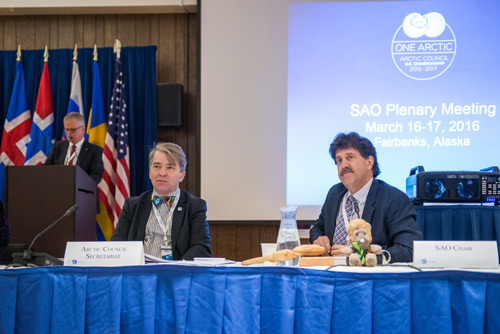 U.S. ambassador David Balton (right), chair of the Arctic Council's Senior Arctic Officials group, said that a scientific cooperation agreement is nearing fruition. Also pictured are (right) Magnus Johannesson, Arctic Council Secretariat director, and (background) Halldor Thorgeirsson, director for strategy with the United Nations Framework Convention on Climate Change. Credit: Arctic Council Secretariat / Linnea Nordström, CC BY-ND 2.0