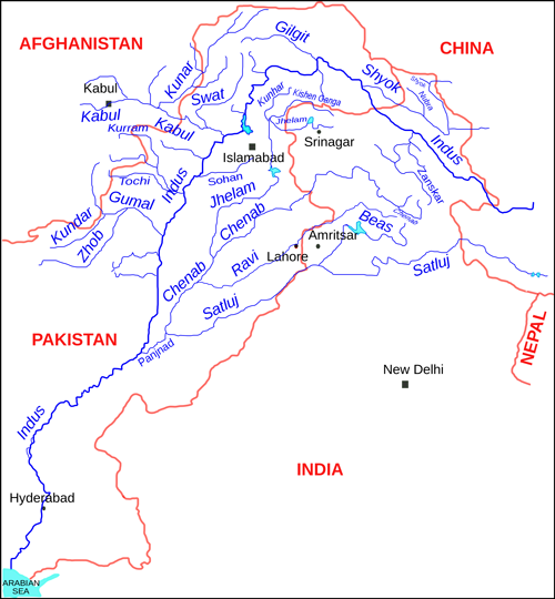 Fig. 1. The Indus River basin, which contains the Indus River and its tributaries, including the Beas River. Credit: Kmhkmh, CC BY 3.0