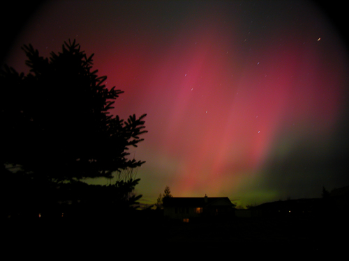 Aurora over Bozeman, Mont., photographed by Joseph Shaw, a member of the Aurorasaurus Scientist Network, in November 2004.