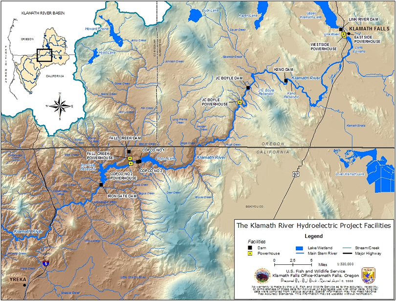 Klamath River Basin Map with Hydroelectric Facilites