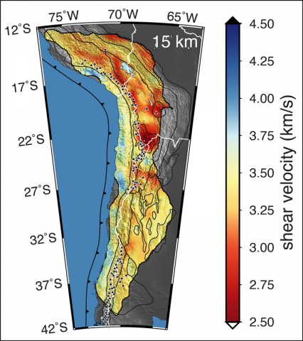 structures below central Andes derived from ambient noise tomography