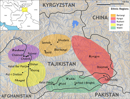 Central Asian villages where Karim-Aly Kassam of Cornell University has worked dot a map of the Pamir Mountains, which take up much of Tajikistan and are populated by several different ethnic groups. Credit: Keith Jenkins