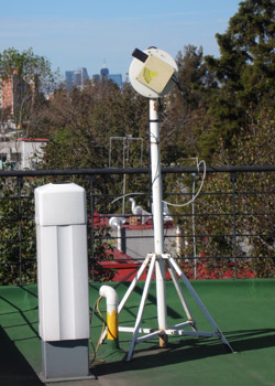 Instruments measure vertical profiles of aerosols and column densities of atmospheric gases by means of (left) light detection and ranging (lidar) and (right) multiaxis differential optical absorption spectroscopy. Credit: Michel Grutter de la Mora