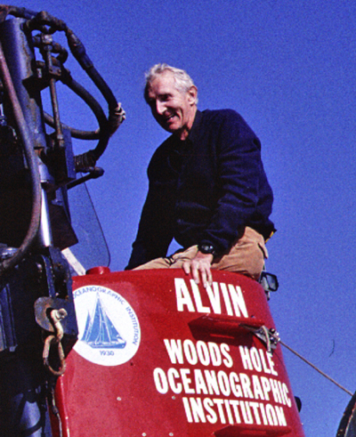 Dick leaving the Alvin research submersible after a dive in 1990.