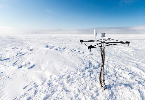 Snow buy erected on Arctic sea ice near the Alaskan coast.