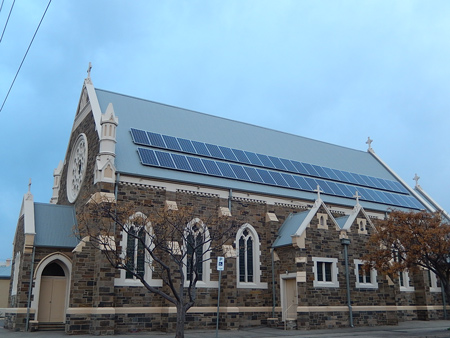 Solar panels on the roof of a church near Adelaide, Australia.