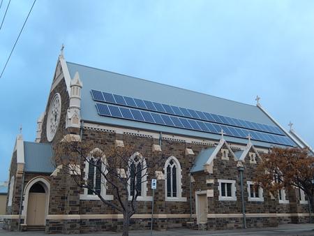 Solar panels on the roof of a church near Adelaide, Australia.