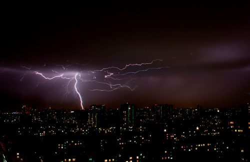 A branching bolt of lightning strikes Moscow.