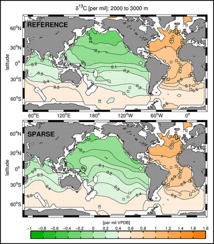 Distribution of the stable carbon isotope ratio of dissolved inorganic carbon averaged between 2000- and 3000-meter depth.