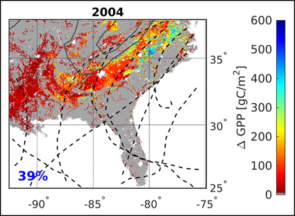 Spatial distribution of changes in gross primary productivity during the 2014 hurricane season affecting 39% of the southeastern United States.