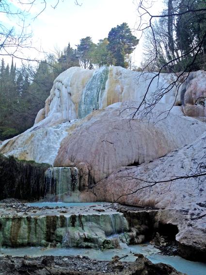 "Hot springs at ""Fossa Bianca"" near Bagno San Filippo at the foot of Mt. Amiata."