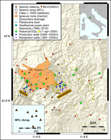 Map of Mt. Amiata with main faults, historical earthquakes, and seismicity recorded by the INGV network during the past 25 years.