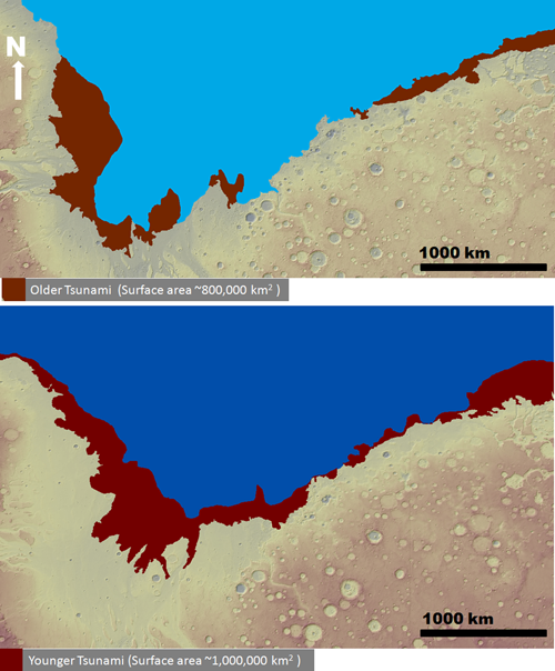 The reach of the two tsunamis proposed by the recent study