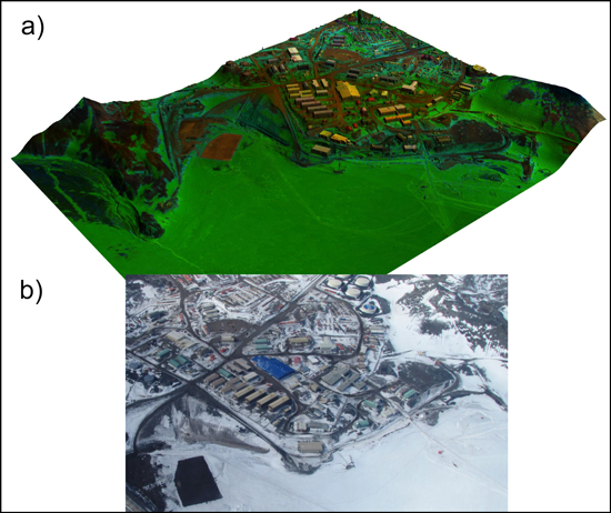 A synthetic view and an oblique aerial image of Antarctica's McMurdo Station.