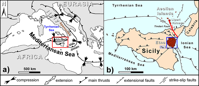Tectonic map showing the geodynamic framework of the Mediterranean region; main structural features of Sicily and location of the volcanic areas studied in the V3 Project.