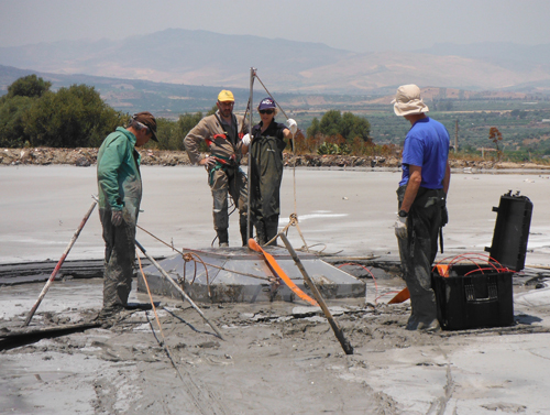Scientists sample mofettes around Etna.