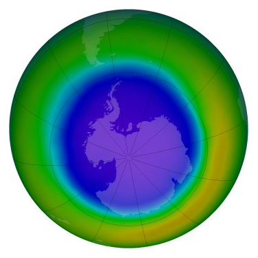 A false-color image of Antarctica's ozone hole in September 2000, which covered 25 million square kilometers. The hole has shrunk 4.5 million square kilometers since then. Purple tones indicate areas of lowest ozone concentrations. Credit: NASA/GSFC