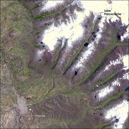 Lake Palcacocha floods reach Huaraz in 15 minutes.
