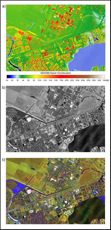Lidar-derived digital surface model of the area surrounding NASA's Johnson Space Center in Houston, Texas.
