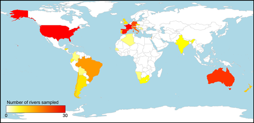 The countries in which researchers in the 1000 Intermittent Rivers Project have sampled intermittent rivers and ephemeral streams.