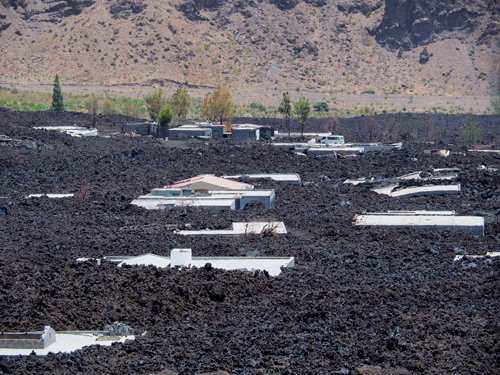Lava flows from Pico do Fogo volcano cover Portela in Cape Verde.