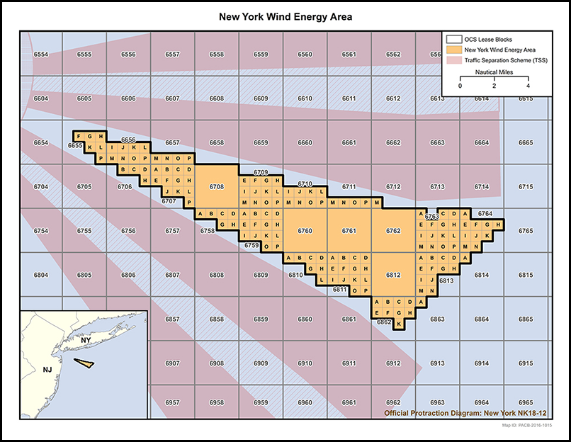A map of the newly approved offshore wind energy lease area located 18 kilometers south of Long Island, New York.