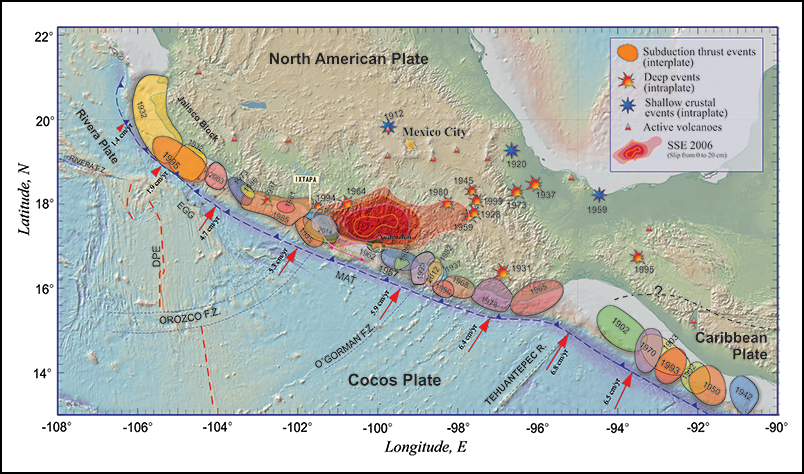 Map of large subduction earthquakes