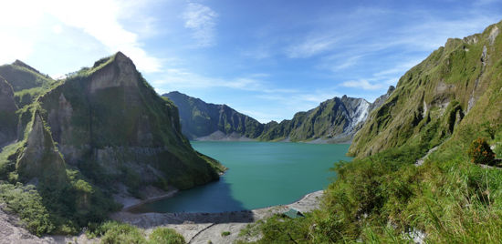 A view of Mount Pinatubo's caldera, now filled with a lake, in 2013.