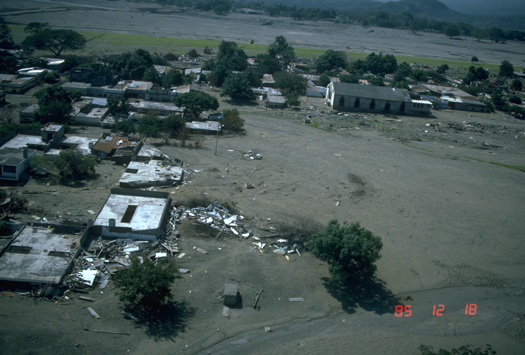 Lahar from 1985 eruption of Nevado del Ruiz smothered the town of Armero.