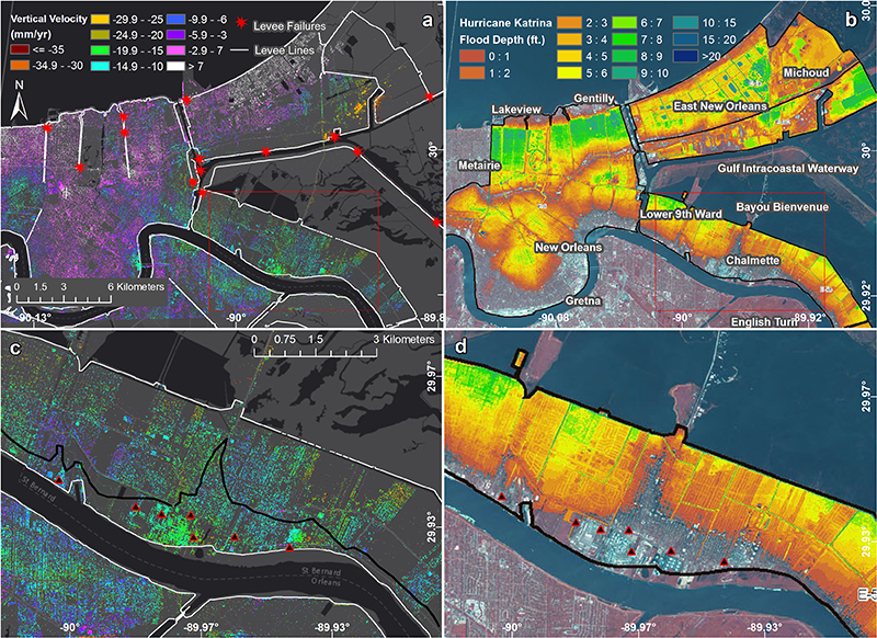 Map of New Orleans coastal subsidence.