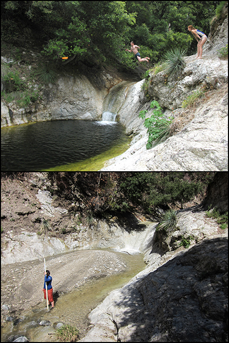 An unnamed plunge pool on Arroyo Seco, San Gabriel Mountains, California.