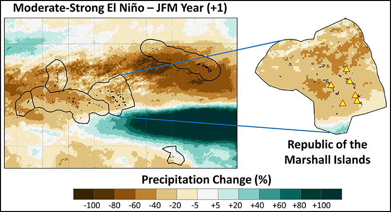 Anomalous precipitation from January through March 1985–2014 following the onset of a moderate to strong El Niño.