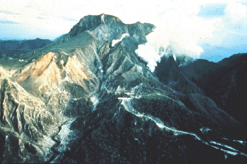 Preeruption Mount Pinatubo on 9 June 1991, viewed from the northeast.