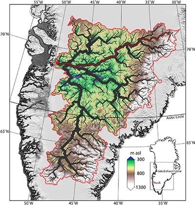 Ancient river network beneath Jakobshavn Glacier.