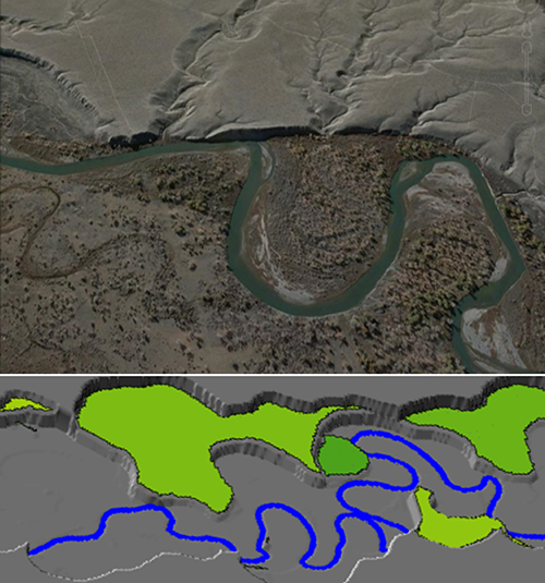 Meandering rivers and terraces in the Wind River Valley, Wyoming (top), and a model river valley (bottom). Credit: Landsat/Google Earth, Ajay Limay