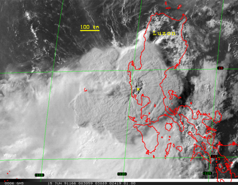 Satellite image of Mount Pinatubo's eruption cloud about 2 hours after the onset of the 15 June 1991 eruption. The yellow x marks the volcano. Credit: USGS