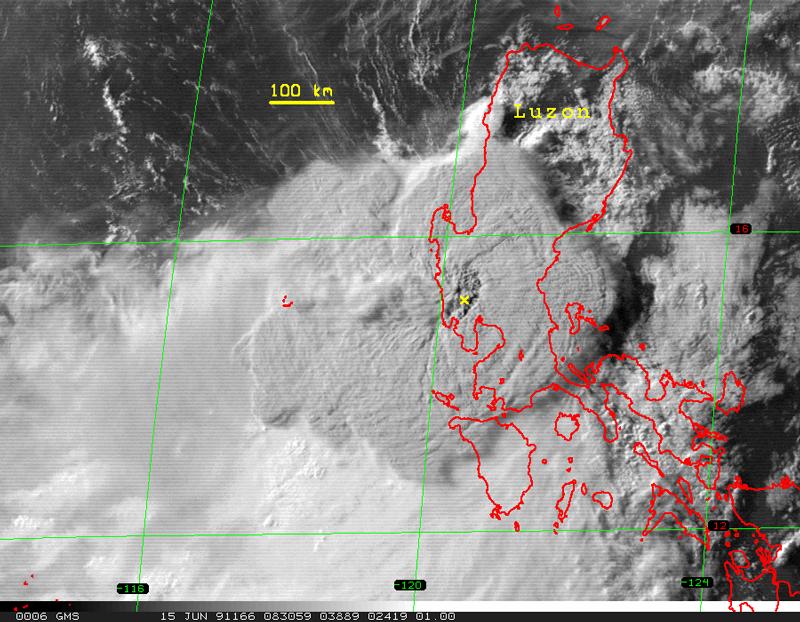 Satelliteimageofmountpinatuboeruptioncloud Eos - Satellite picture of