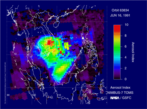 Satellite measurements of aerosol missions from Mount Pinatubo on 16 June 1991.