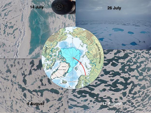 Fig. 2. Photographs of the ice from each cruise, with a representative track from Murmansk to the North Pole via Franz Josef Land. These images can be analyzed to determine the seasonal evolution of melt ponds. Credit: Alex Cowan