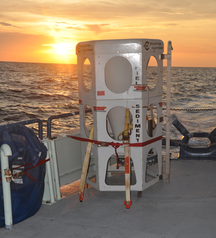 Researchers anchored this funnel-shaped sediment trap above the ocean floor to capture marine snow. Credit: Vernon Asper
