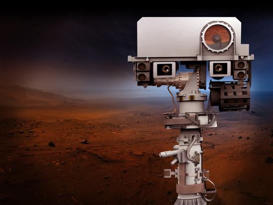 Artist's rendition of the top of the Mars 2020 rover's mast.