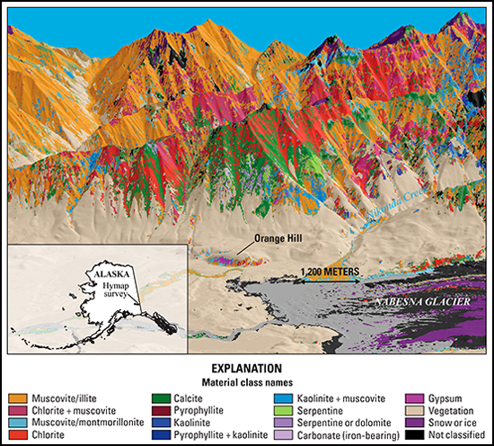 Colors represent different minerals in this map of the Orange Hill area of Alaska's Wrangell–St. Elias National Park and Preserve.