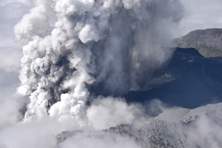 Japan's Mount Ontake erupts on 27 September 2014.